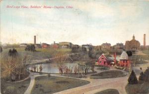 Dayton Ohio~Soldier's Home Bird's Eye View~Pond in Foreground~c1910 Postcard