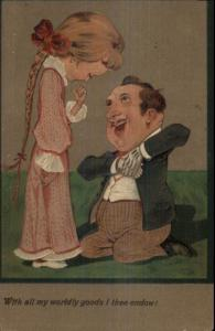 Embossed Caricature - Man Prosfessing Love  to Pretty Woman c1910 Postcard