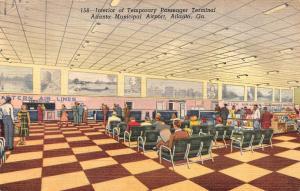 ATLANTA, GA Georgia TEMPORARY AIRPORT PASSENGER TERMINAL~Interior  1950 Postcard