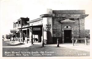 C27/ Tuscon Arizona Az Real Photo RPPC Postcard c1950s Main St Stage Depot