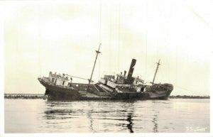 Stranded Ship Hoek van Holland GATT 12 Januari 1955 RPPC 05.14