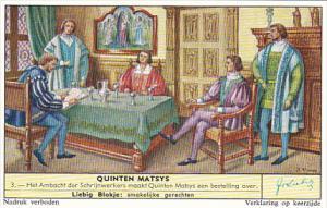 Liebig Trade Card s1736 Quinten Matsys No 3 Het Ambacht der Schrijnwerkers ma...