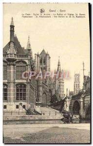 Postcard Old Gent Ghent Post St Nicolas Church The Belfry and St Bavo & # 39e...