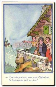 Old Postcard Cottage for rent Child Illustrator Brian Jean