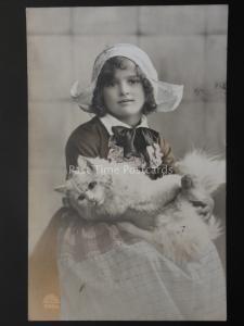 Studio Portrait LITTLE GIRL with PUSSY CAT c1912 RP Postcard by R & K. L. 5068/4