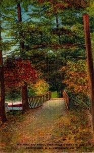 New York Adirondacks Brantingham Trail and Bridge Over Outlet Near The Inn