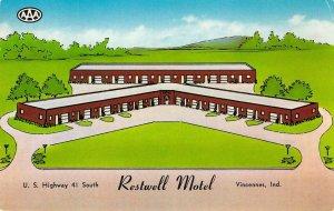 RESTWELL MOTEL Vincennes, Indiana Highway 41 Roadside ca 1950s Vintage Postcard