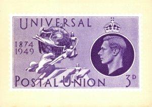 1984 Postal Museum Postcard Universal Postal Union 3d Stamp 1949 BW8