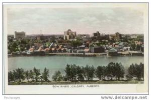 Colorized RPPC,  Bow River and Calgary, Alberta, AB, Real Photo by Sutton