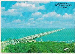 Louisiana New Orleans Greetings Showing Lake Ponchartrain Bridge