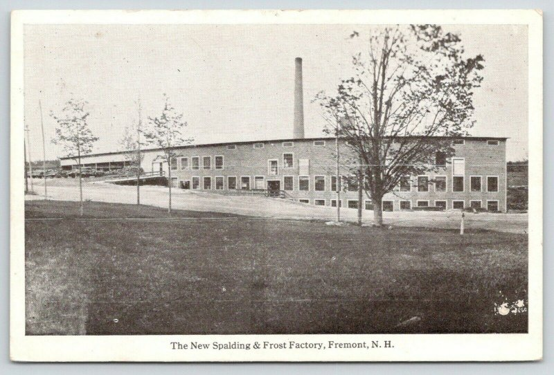 Fremont New Hampshire~New Spalding & Frost Factory~Smoke Stack~1920s Postcard