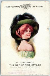 Vintage Advertising Postcard M&H FINE WOOLENS New Spring Styles c1910s