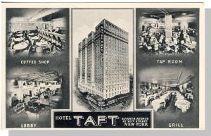 New York, NY Postcard,Hotel Taft,Lobby/Grill/Tap/Coffee Shop