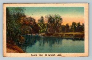 St Anicet QC Quebec Canada, Scenic View, Linen Postcard