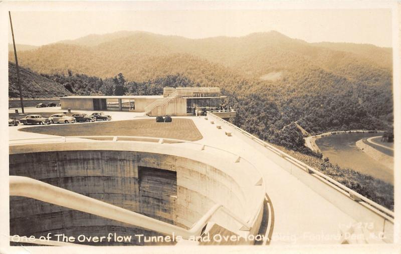 Fontana Dam North Carolina~Overflow Tunnel & Overlook Building~Cars~1940s RPPC
