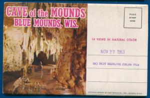 Cave of the Mounds Blue Mounds Wisconsin wi chroem postcard folder