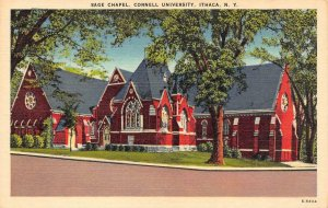ITHACA, New York NY   SAGE CHAPEL ~ Cornell University  c1940's Linen Postcard