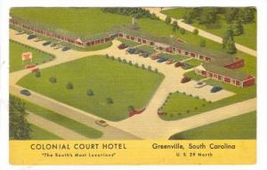 Aerial View, Colonial Court Hotel, Greenville, South Carolina, 20-40s