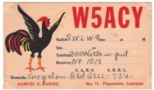 QSL, W5ACY, Plaquemine, Louisiana, 1938