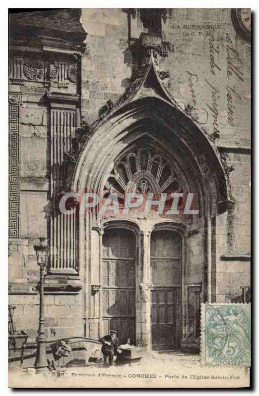 Postcard Old Goms door of the church Sainte Foy