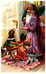 Christmas  Santa Claus Purple Robe  Tuck's