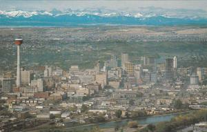 Scenic Aerial View, City View and Canadian Rockies in Background, Calgary, Al...