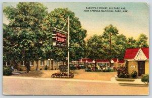 Hot Springs National Park Arkansas~Parkway Court~1949 Linen Roadside Motel PC