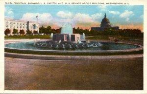 Washington D C Plaza Fountain Showing U S Capitol and U S Senate Office Building