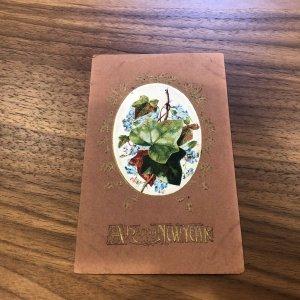 Printed Postcard A Happy New Year 1915 Portrait Flowers Art Nouveau Font