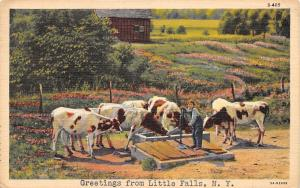 Little Falls New York~Boy Hand Pumps Water for Cows~Cattle at Trough~1946 Linen