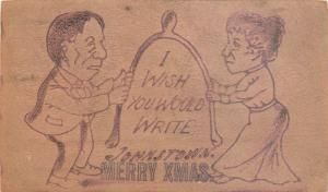 Leather Christmas Postcard; Man & Woman Pull Giant Wishbone, Posted 1906