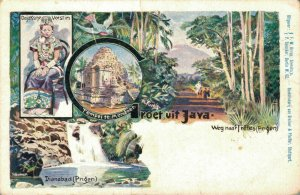 Indonesia - Groet Uit Java Temple Mandoer Dianabad Borobudur Litho 04.85