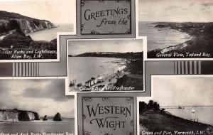 E27/ Yarmouth Isle of Wright U.K. Foreign Photo RPPC Postcard 5View ALum Bay