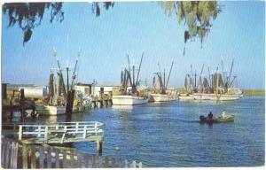 Docks and Fishing Fleet at Valona, Georgia GA, Chrome
