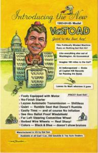 Artist Signed Postcard, Political Satire Ronald Reagan Driving a Veto Tractor