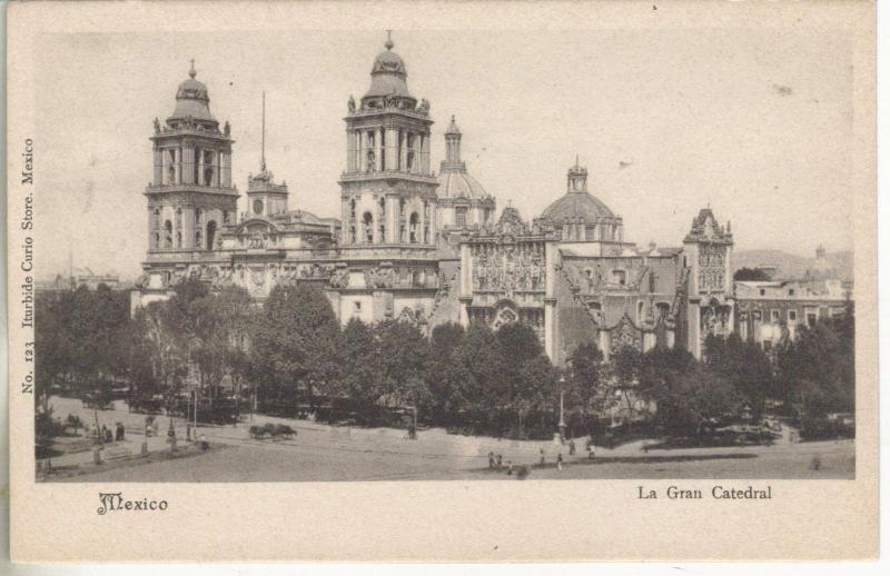 Mexico City? Mexico bird's eye view of La Gran Cathedral antique postcard Z2803