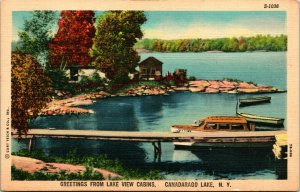 Vtg Linen Postcard - Greetings From Lake View Cabins Canadarago Lake NY - Unused