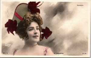 VINTAGE - Theater Edwardian Lady 1900s photo postcard G Gallois - POSTCARD
