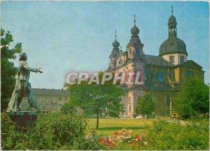 Postcard Modern Mannheim Jesuitenkirche put Schillerdenkmal