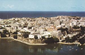 Aerial View of old San Juan and the Executive Mansion, Puerto Rico, 40-60s