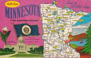 Greetings From Minnesota With Map 1970