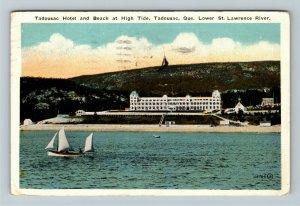 Tadousac P.Q. Canada - Tadousac Hotel and Beach at High Tide, Vintage Postcard