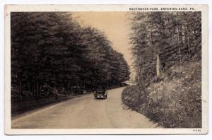 1915-1930 Kane PA Southover Park Entering Car Hanson's Music Store RARE Postcard