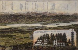 Gasthaus Bachtel-Kulm - Mountain Map & Observation Tower c1910 Postcard