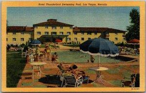 Las Vegas, Nevada Postcard HOTEL THUNDERBIRD Swimming Pool Scene LINEN c1940s