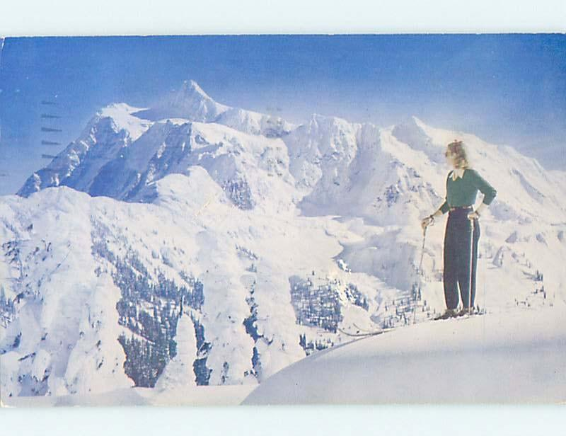 1952 WOMAN SKIING ON MOUNT SHUKSAN Glacier Deming Bellingham WA hn6072