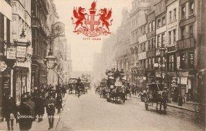 London. Fleet Street.  . Horse-cars  Tuck Heraldic View PC  # 2175