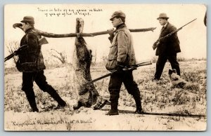 Lots of Big Game in Lincoln NE~Hunters w/ Exaggerated Rabbit~1909 Martin RPPC