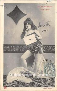 Old Vintage Gambling Postcard Post Card As De Carreau, Lettre d'amour 19...