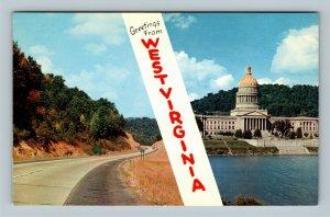 Charleston WV, Banner Greetings, Capitol Building, Chrome West Virginia Postcard